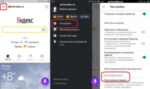 Настройки Алисы Яндекс на андроид