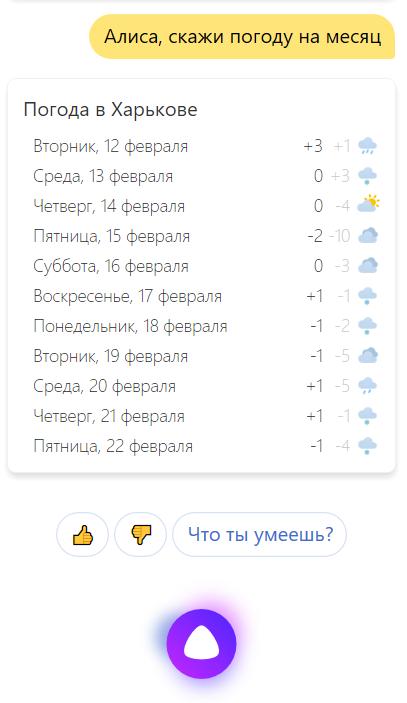 Алиса, какая сегодня погода?