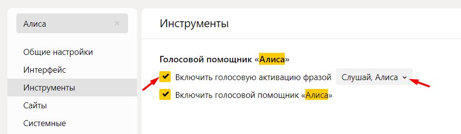 Настройки Яндекс Алисы на Компьютере